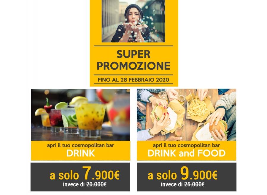 Apri il tuo cosmopolitan bar| Drink a 7.900€ o il tuo cosmopolitan bar | Drink&Food a 9.900€